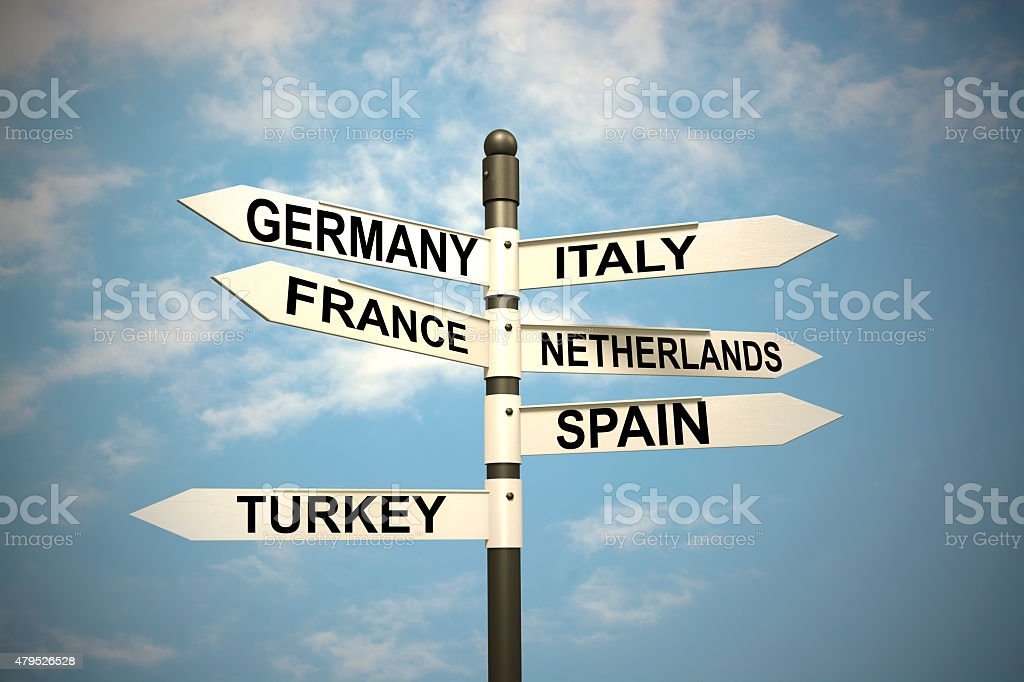 Europe Countries and  signpost against blue sky stock photo