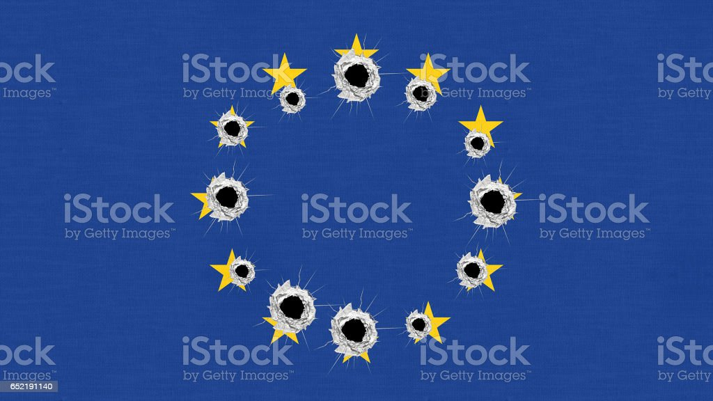 europe flag perforated bullet holes stock photo