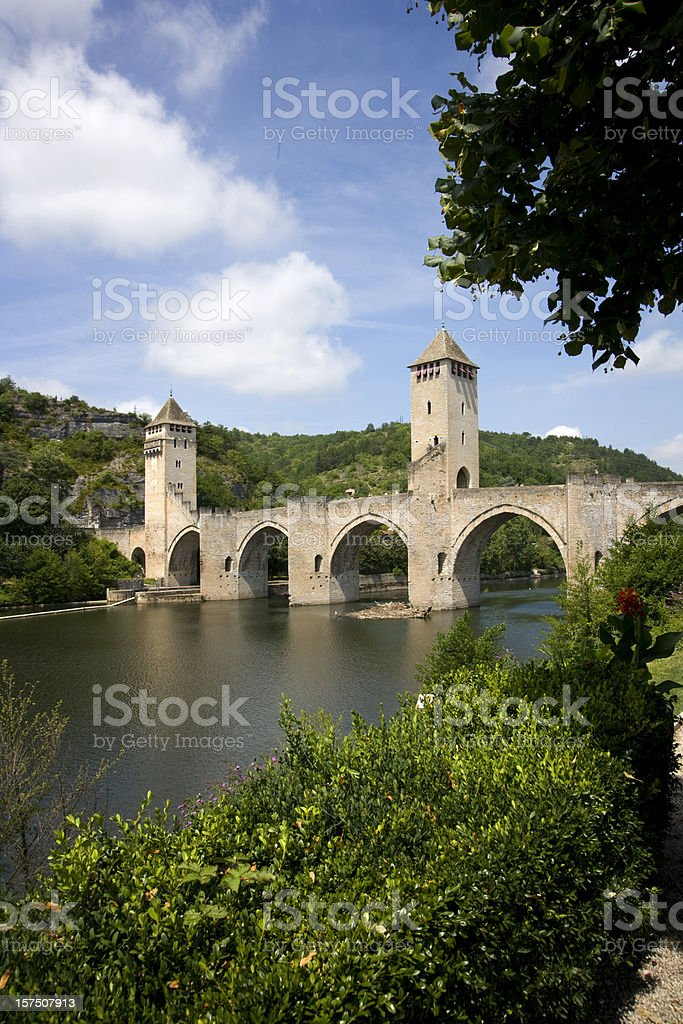 Europe, France, Midi Pyrenees, Lot, Cahors, Pont Valentre stock photo