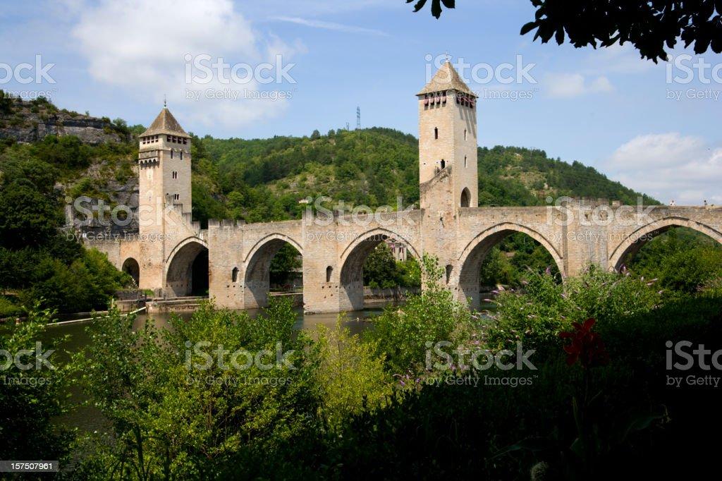 Europe, France, Midi Pyrenees, Lot, Cahors, Pont Valentre stock photo