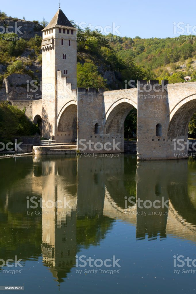 Europe, France, Midi Pyrenees, Lot, Pont Valentre fortified bridge stock photo