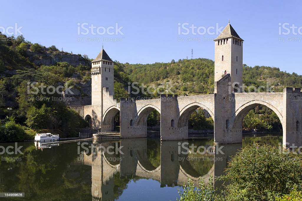 Europe, France, Midi Pyrenees, Lot, Pont Valentre fortified bridge stock photo
