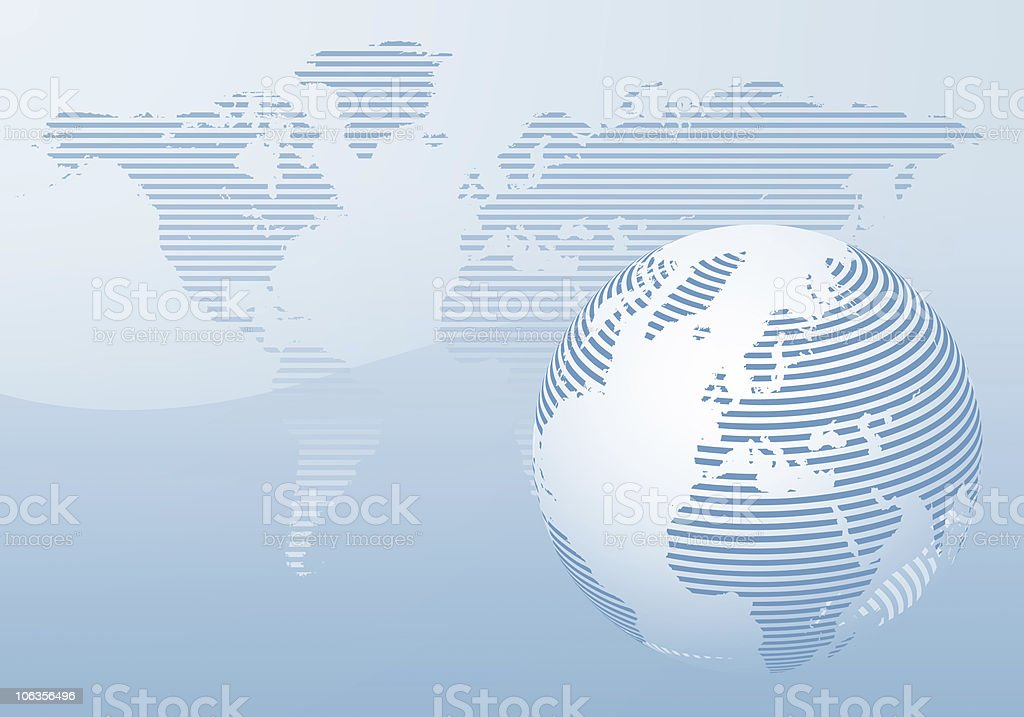 Europe in Striped Blue Globe stock photo