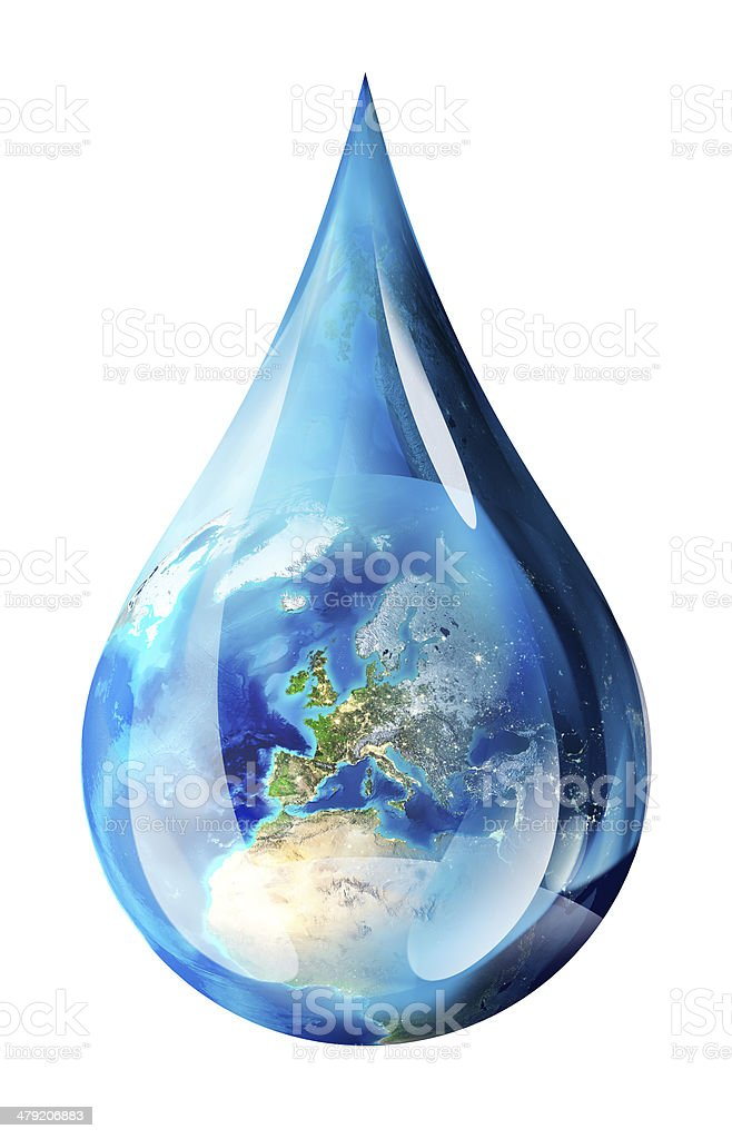 Europe in water drops  - Elements furnished by NASA stock photo