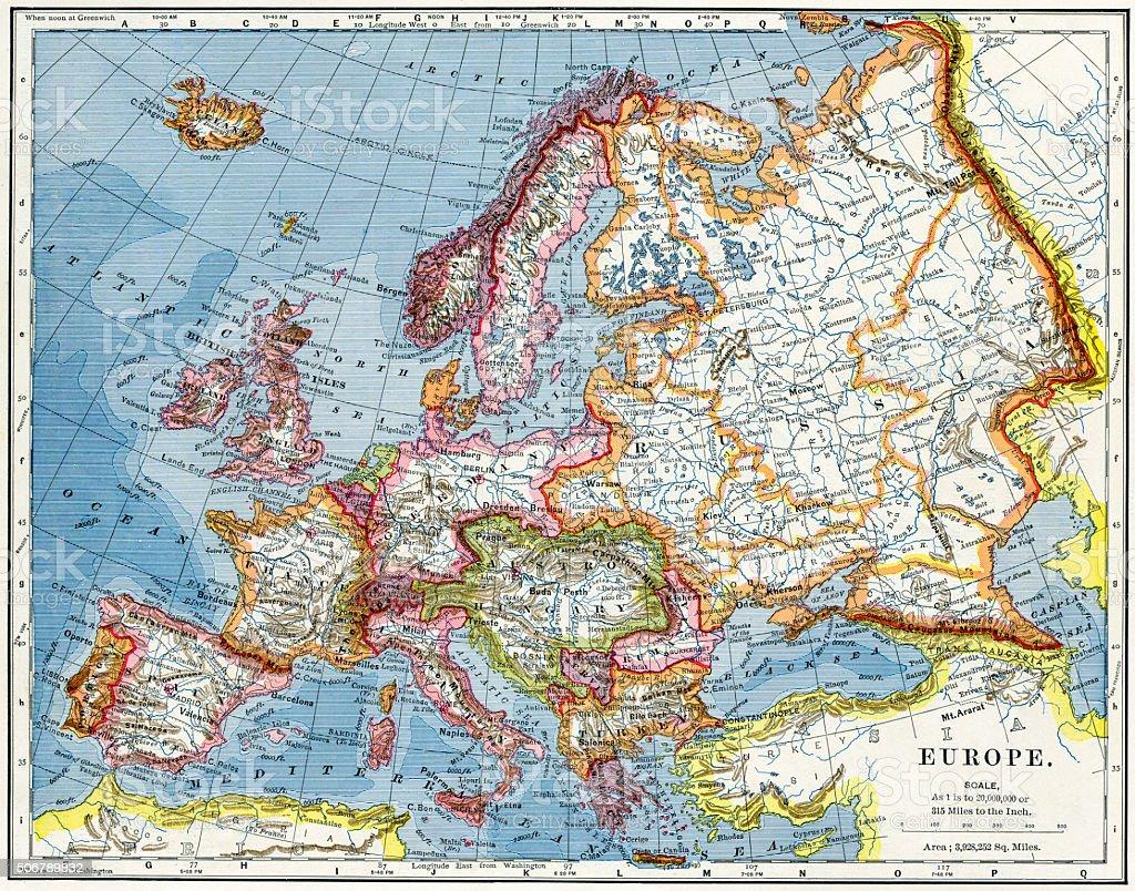 Europe Map 1883 stock photo