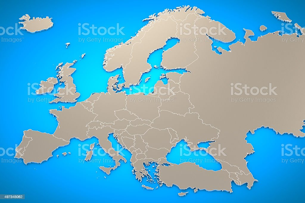 3D Europe Map Background. stock photo