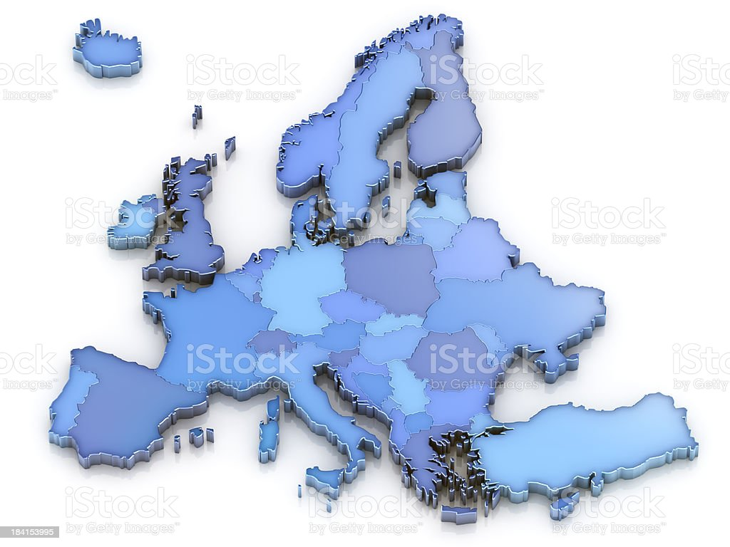 Europe map isolated stock photo