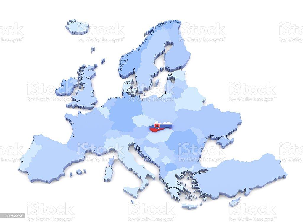 Europe Map, Slovakia with Flag stock photo