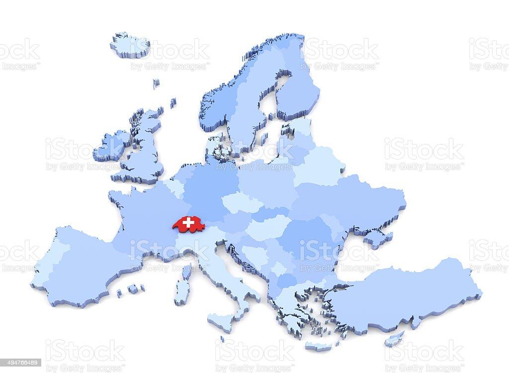 Europe Map, Switzerland with Flag stock photo