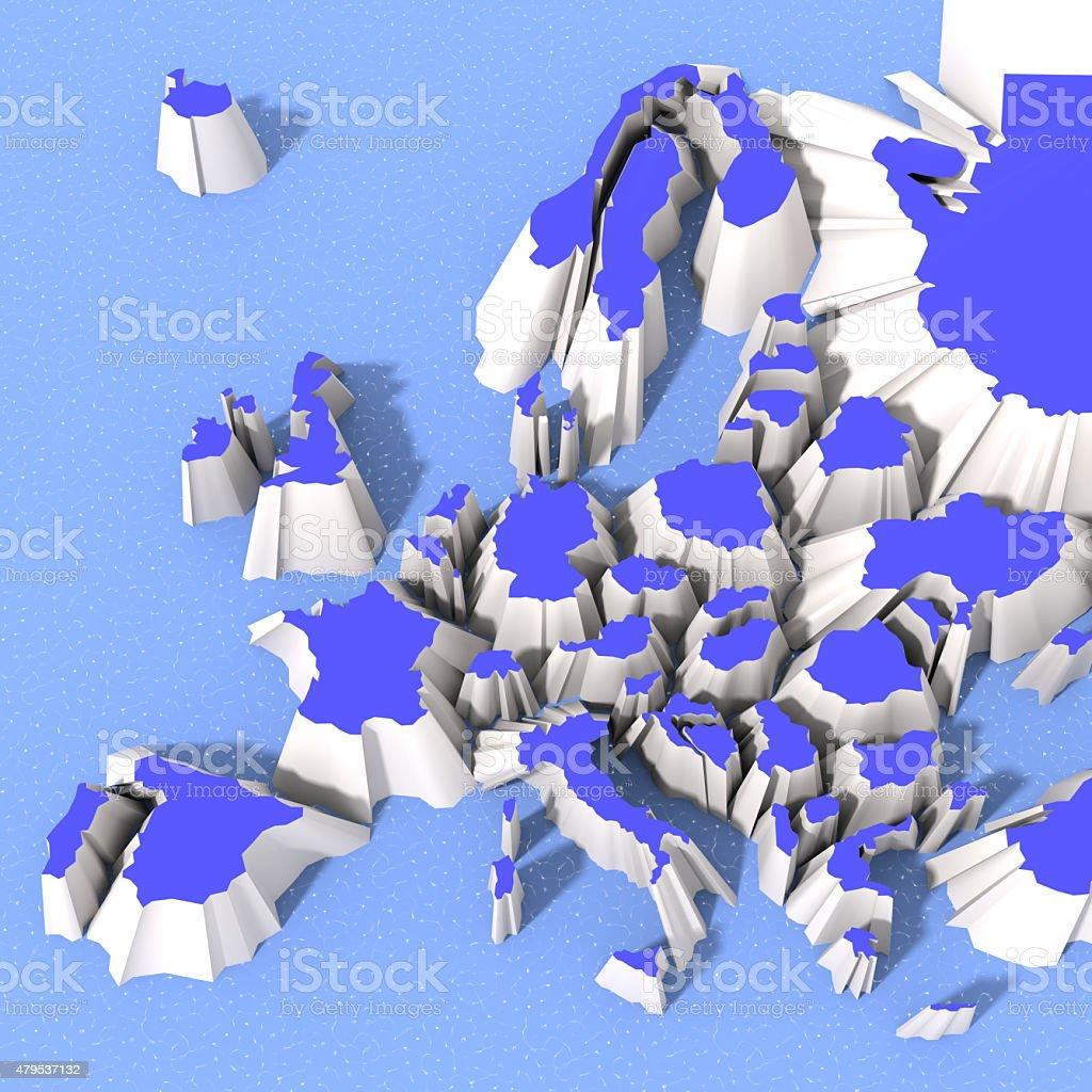 Mappa Europa 3D che si sta dividendo stock photo