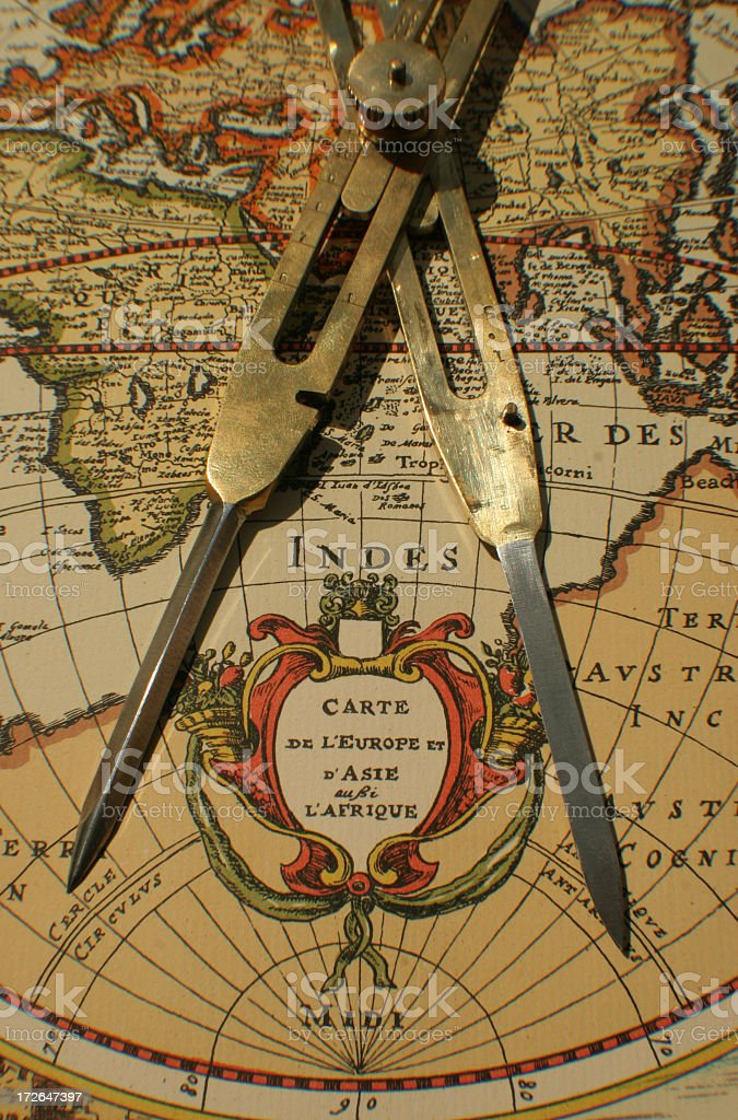 Europe map with compass royalty-free stock photo
