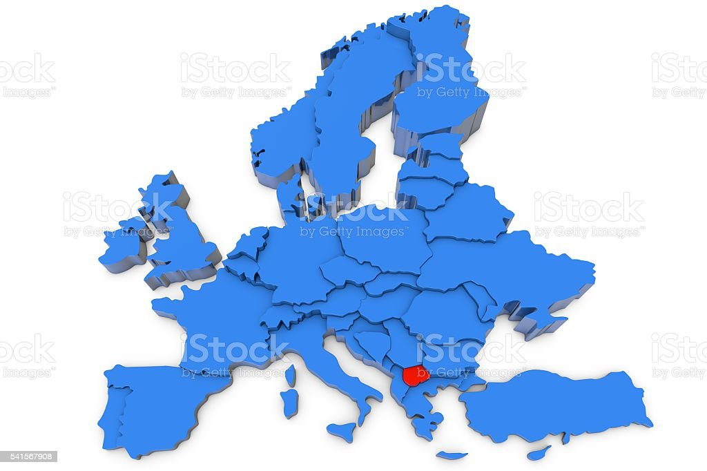 Europe map with Macedonia in red stock photo