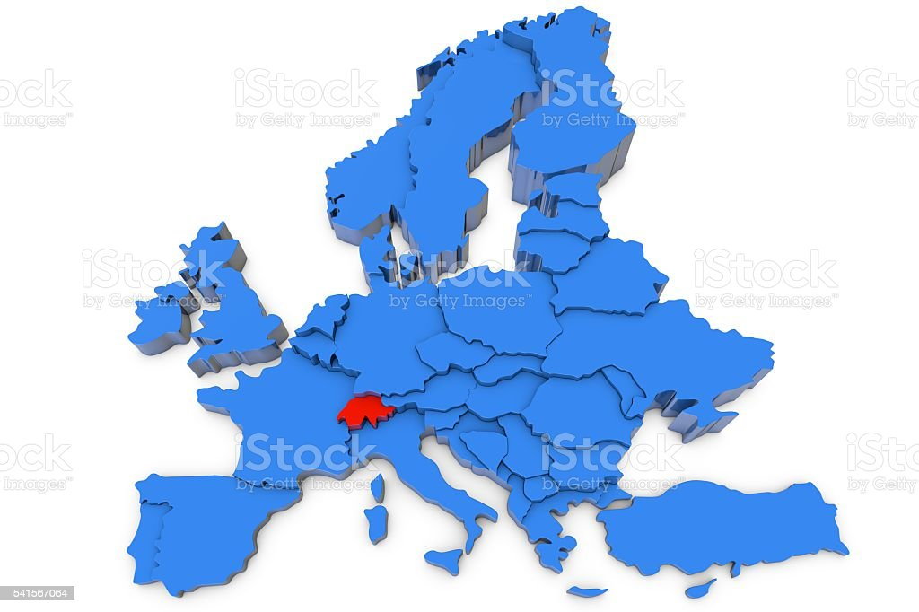 Europe map with Switzerland in red stock photo