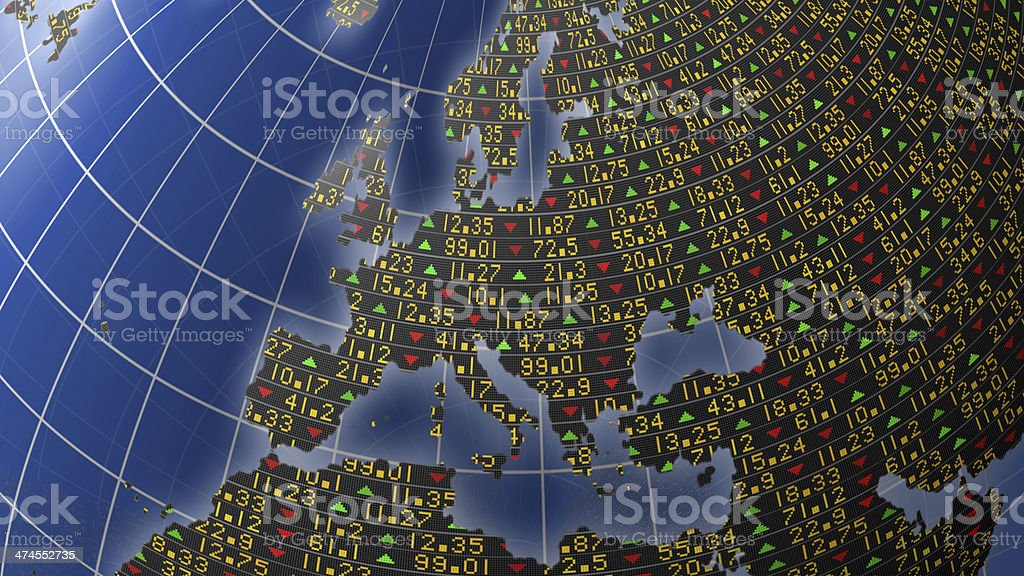 Europe mapped with stock market tickers stock photo
