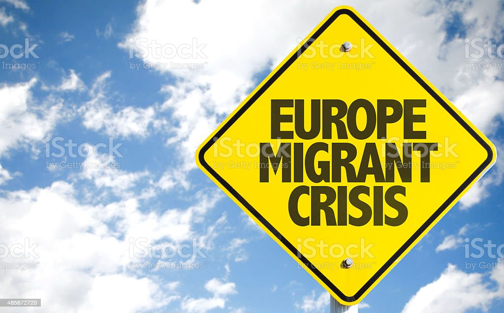 Europe Migrant Crisis sign with sky background stock photo
