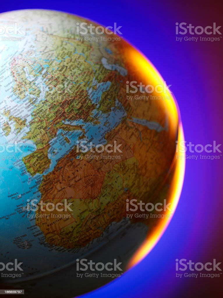Europe on a World Globe royalty-free stock photo