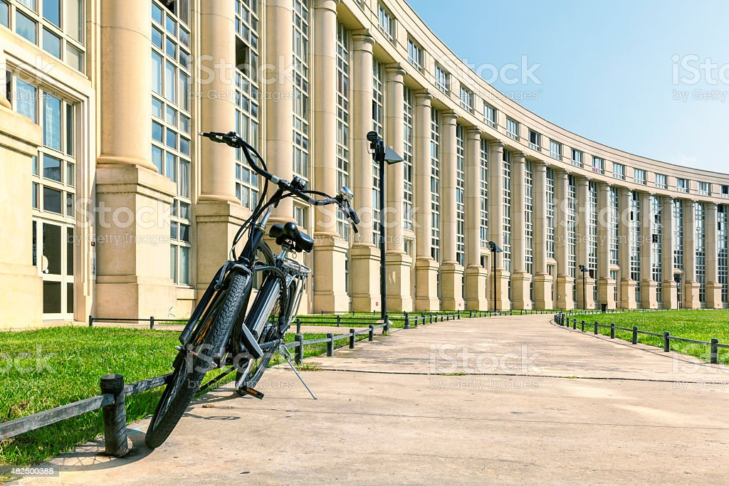 Europe Square with bike in Montpellier, France stock photo