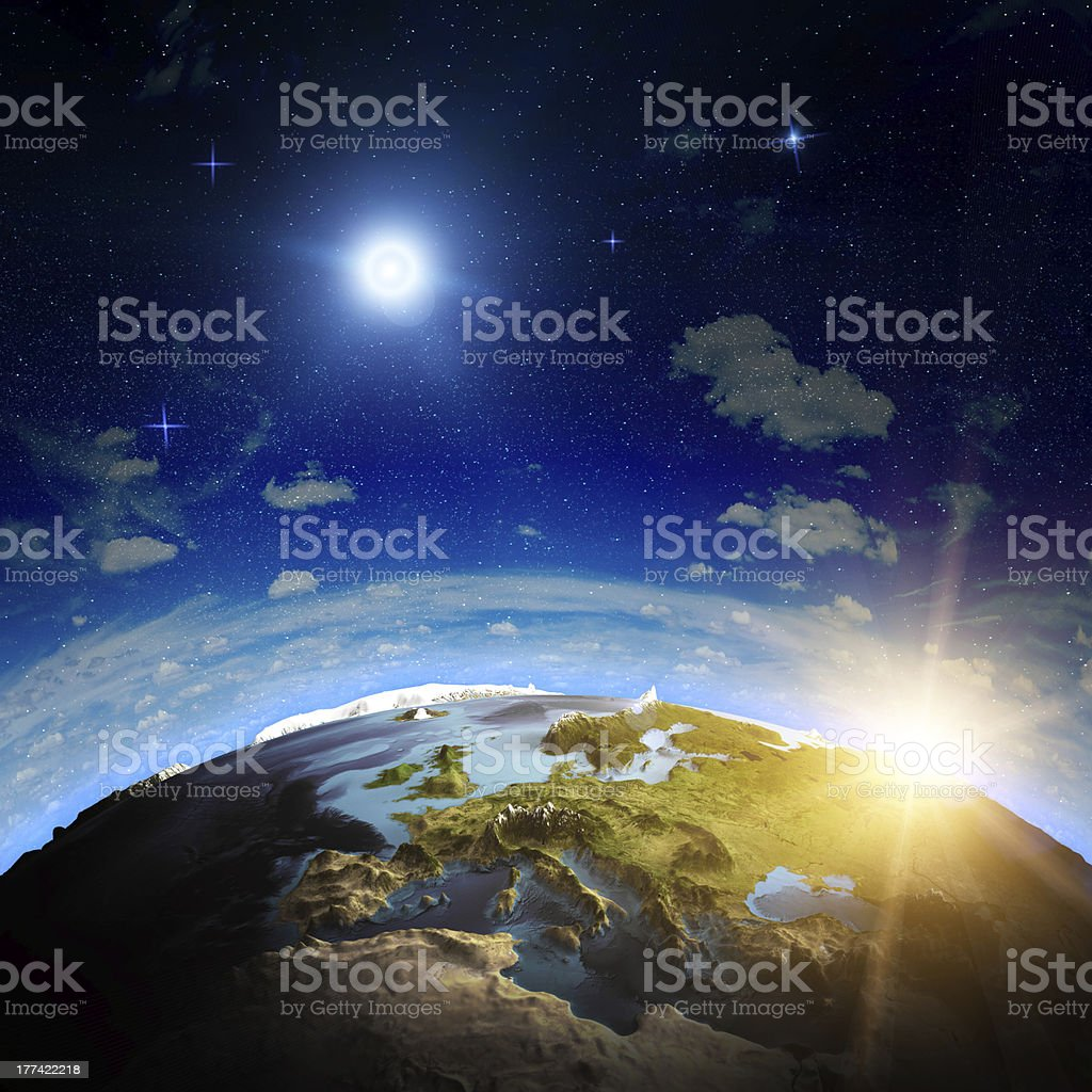 Europe sunrise stock photo