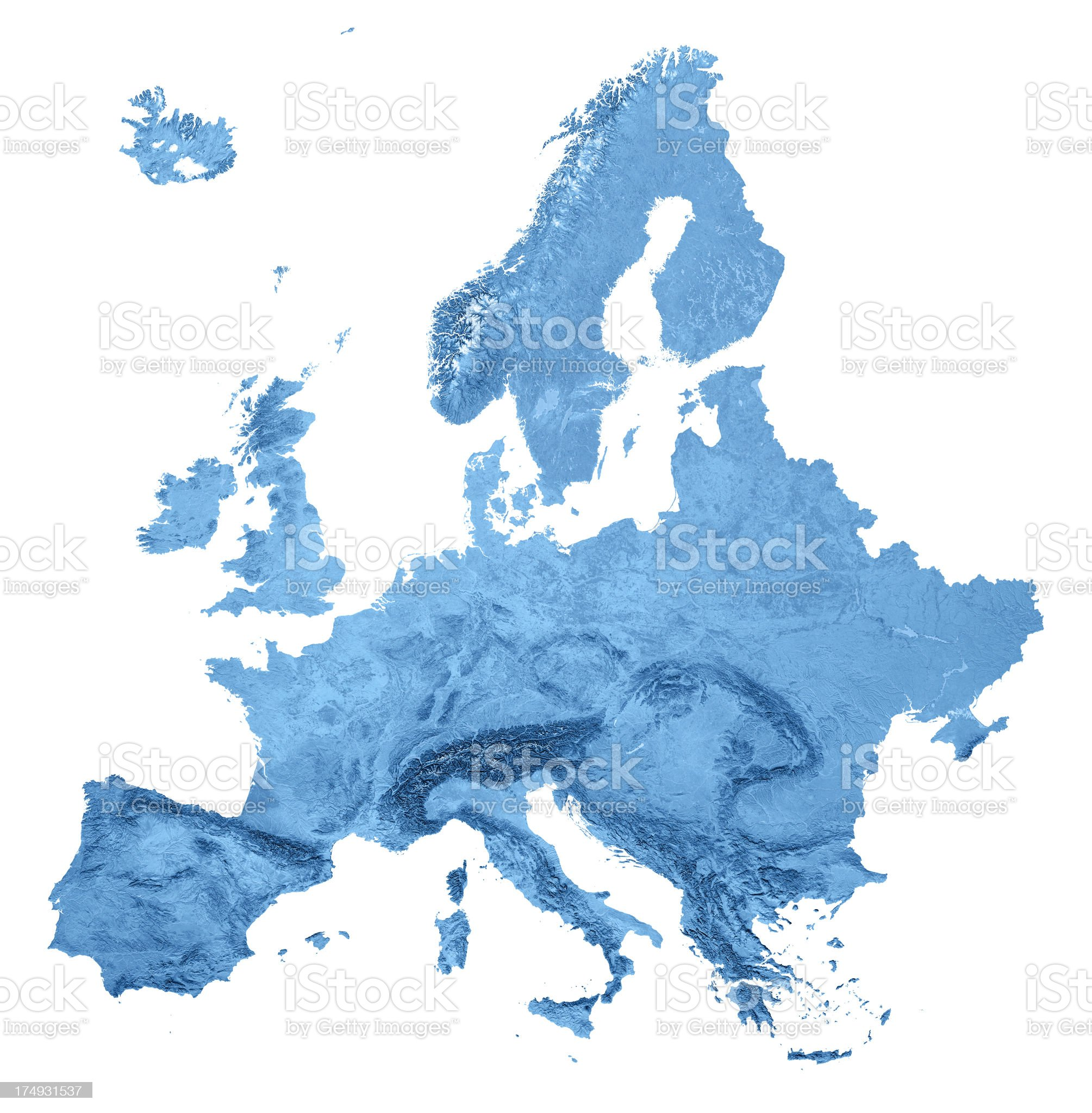Europe Topographic Map Isolated royalty-free stock photo