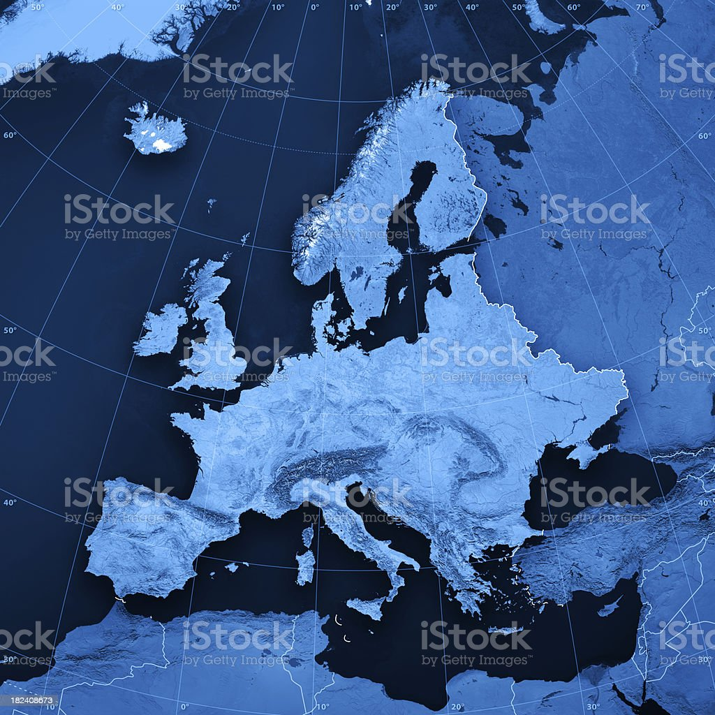 Europe Topographic Map stock photo