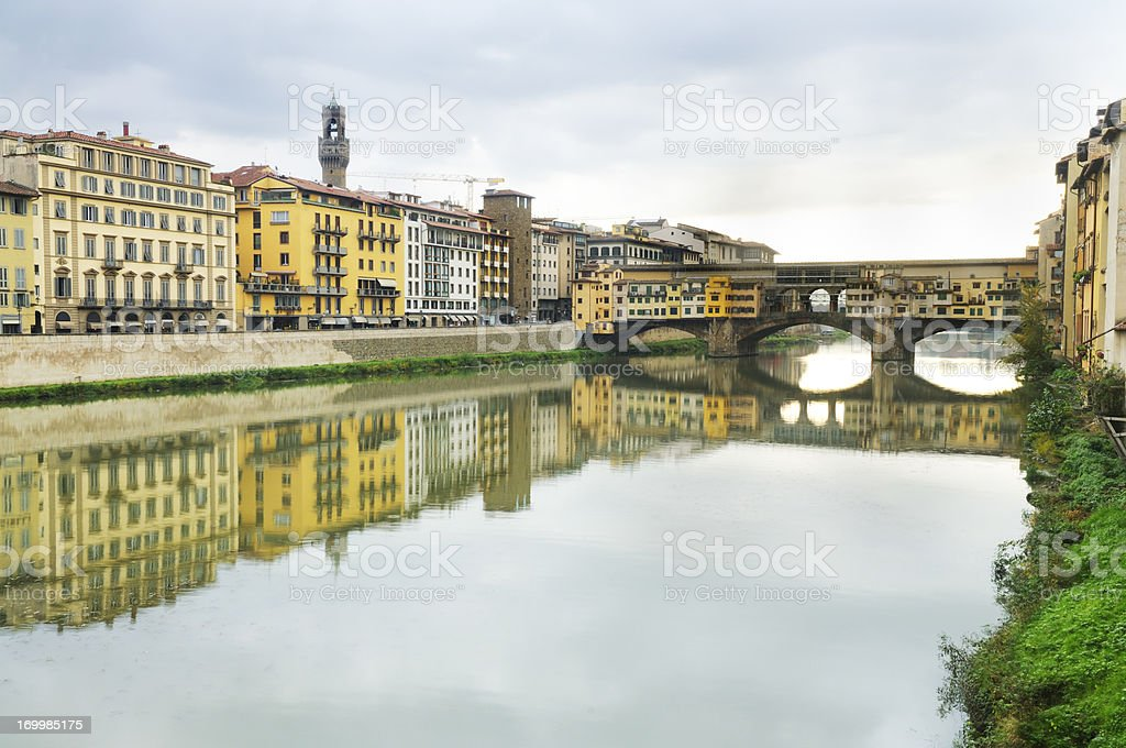 Europe Travel Destination Arno River Architecture in Florence Italy stock photo