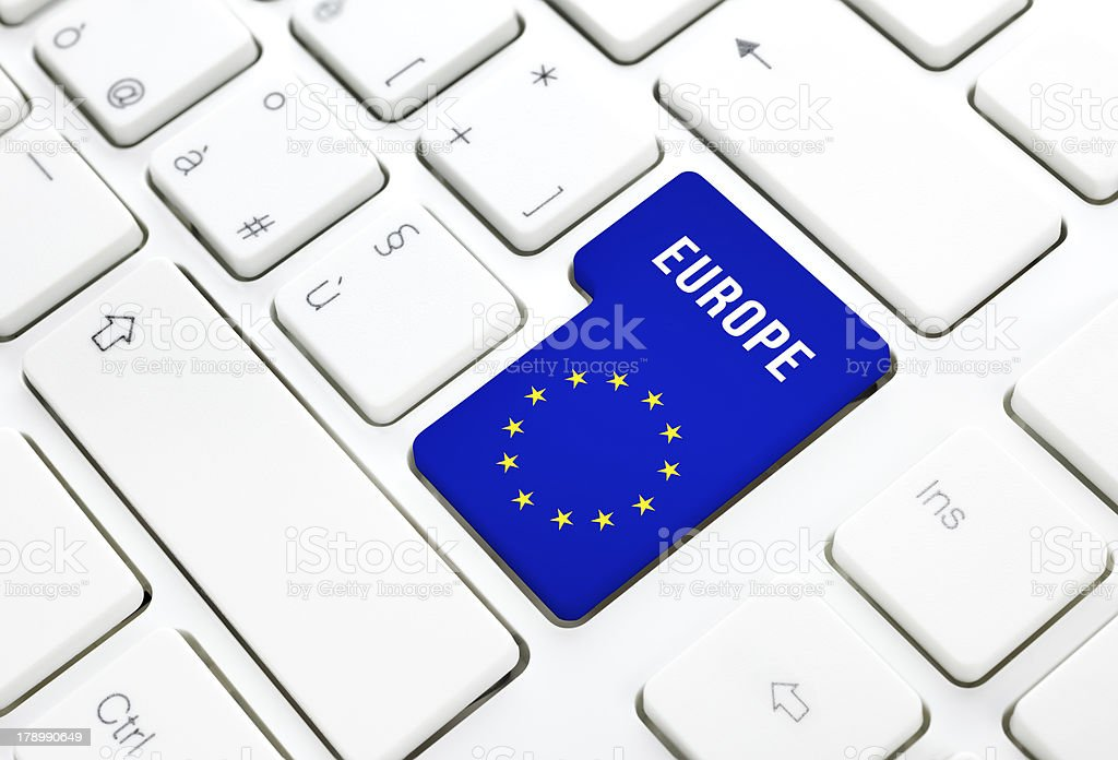 Europe web concept. blue and star flag key on keyboard royalty-free stock photo
