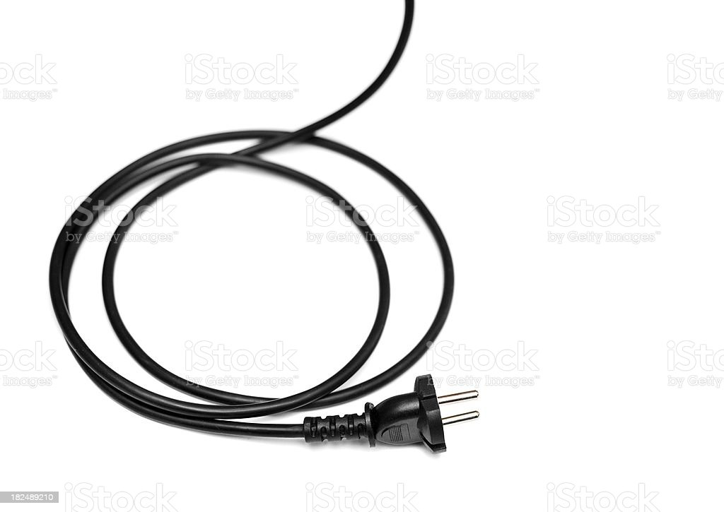 european 220 volt plug and cable - isolated on white stock photo