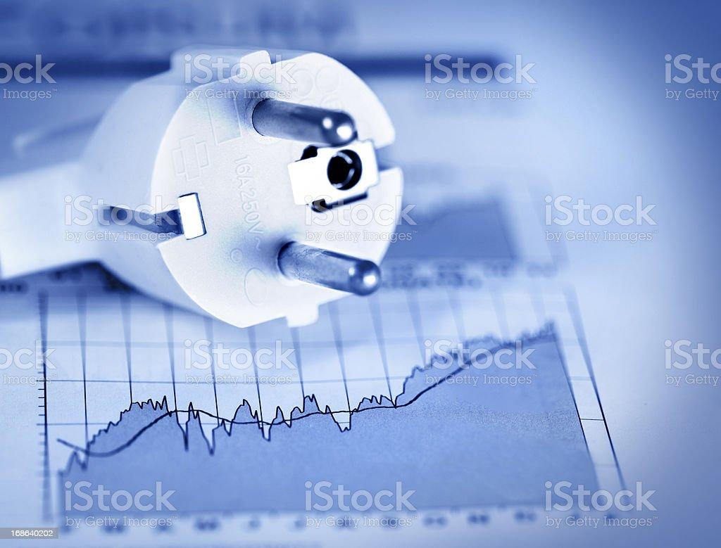 European 220 volt plug and chart royalty-free stock photo