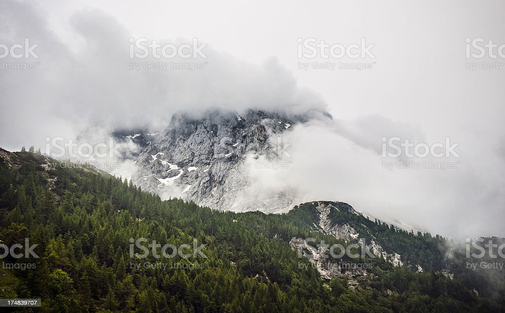 European Alps covered in clouds royalty-free stock photo