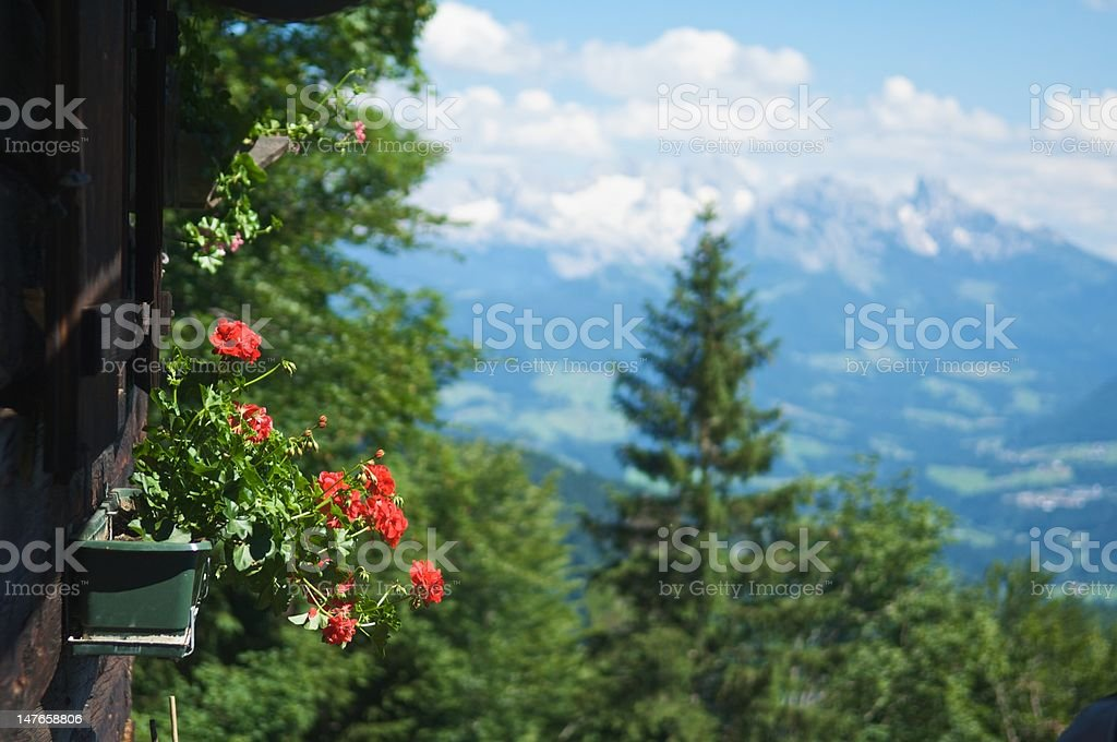 European Alps with Chalet on Foreground stock photo