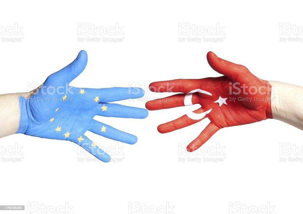 european and turkey hands royalty-free stock photo