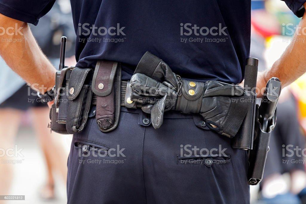 European Armed Policeman on Duty stock photo