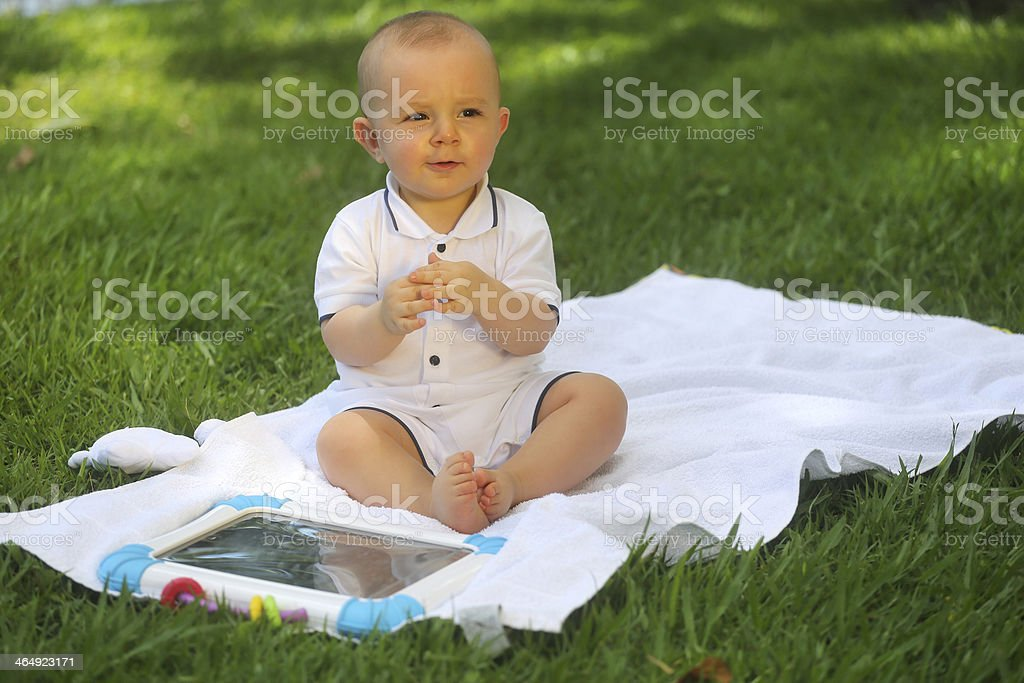 European baby using the tablet - 10 month old royalty-free stock photo