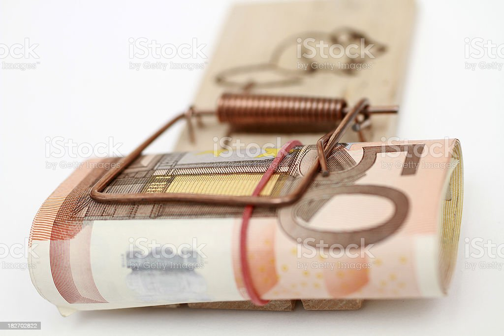 European banknote in a mousetrap royalty-free stock photo