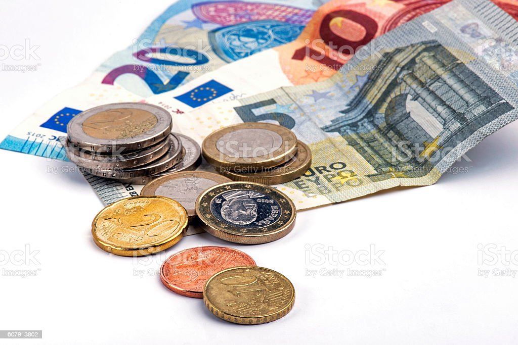 European banknotes and coins stock photo