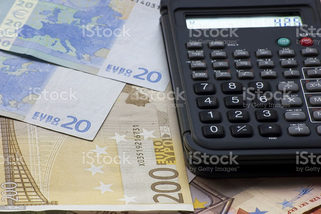european banknotes with financial calculator royalty-free stock photo