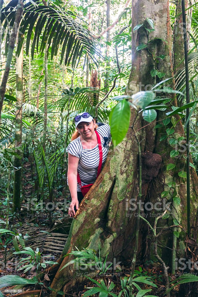 European biologist woman in the tropical rainforest stock photo