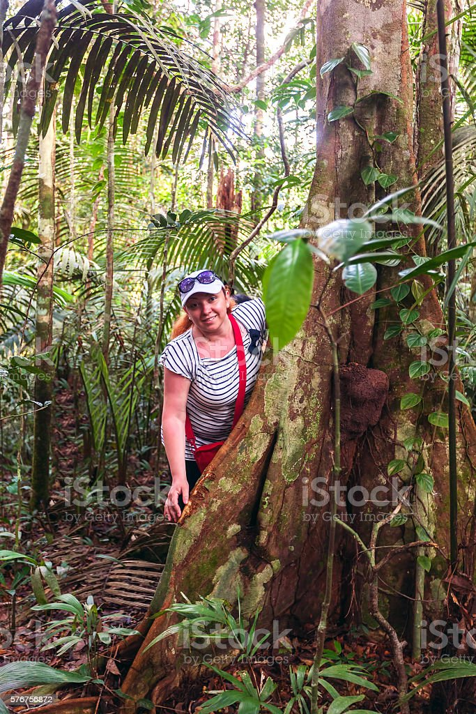 European Biologist Woman In The Tropical Rainforest, Cuyabeno stock photo