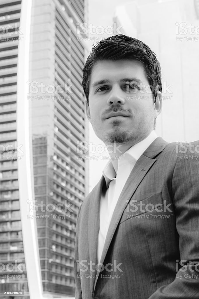 European Businessman in Dubai in Monochrome stock photo