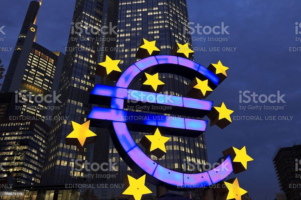 European Central Bank at dusk stock photo