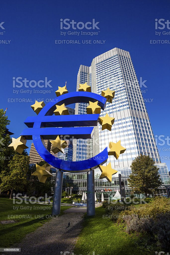 European Central Bank headquarters (Eurotower) in Frankfurt am Main royalty-free stock photo