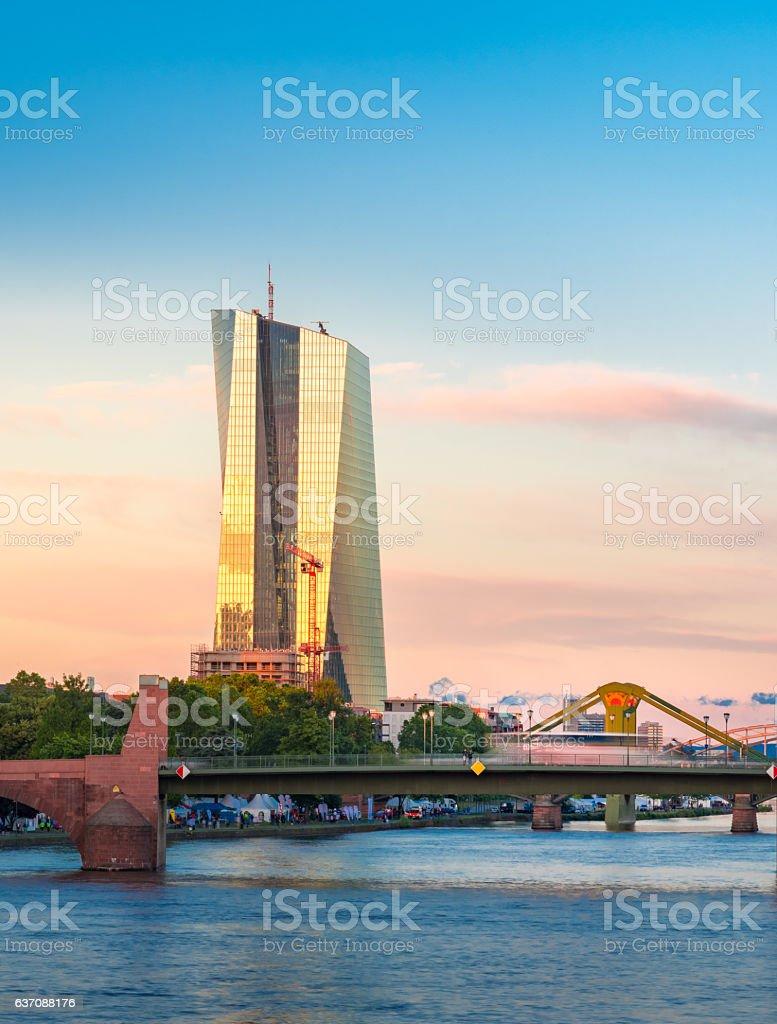 European Central Bank on twilight in Frankfurt, Germany stock photo