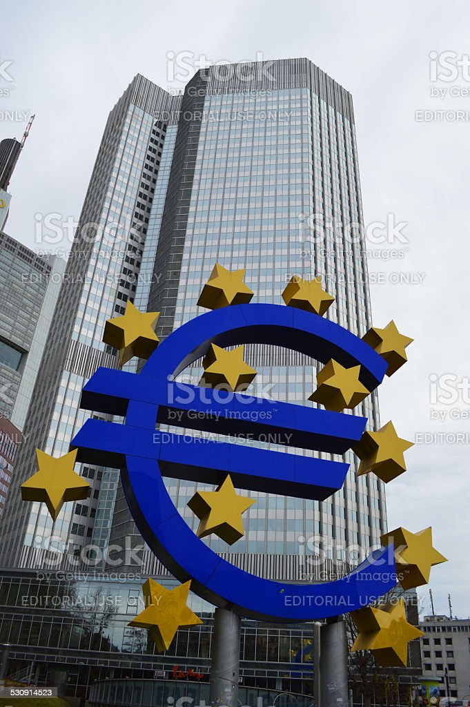 european central bank with euro logo in frankfurt stock photo