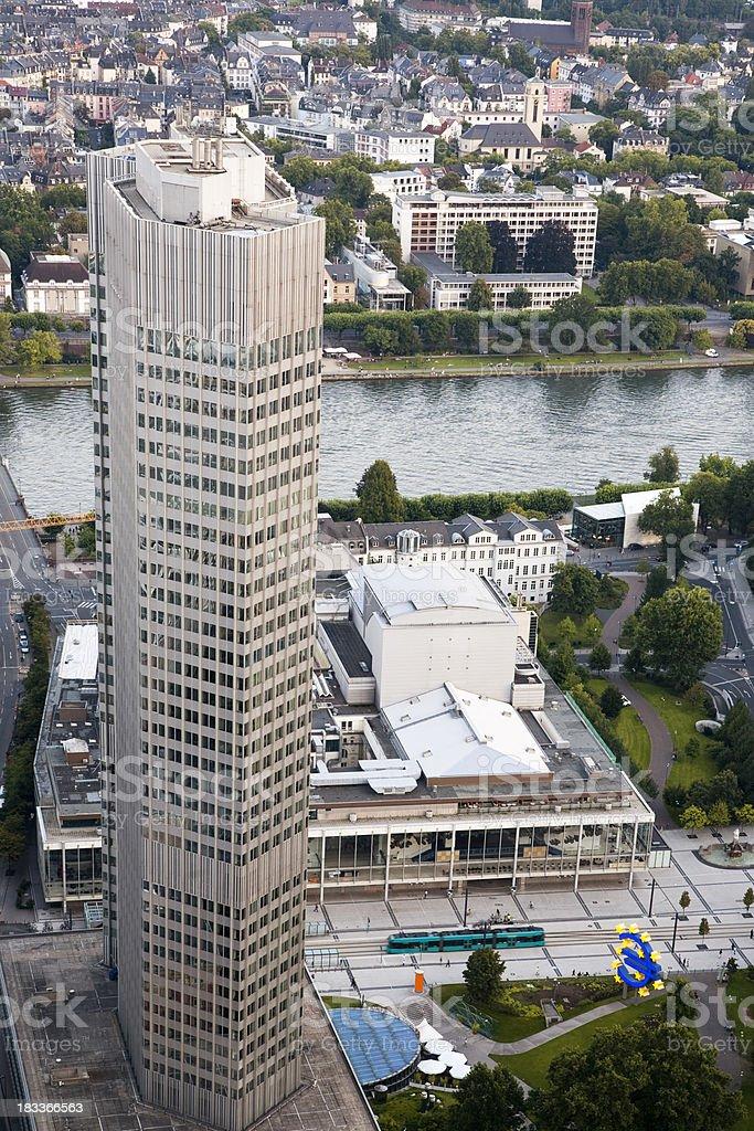 European Central Bank with Euro Symbol, Frankfurt Main, Germany royalty-free stock photo