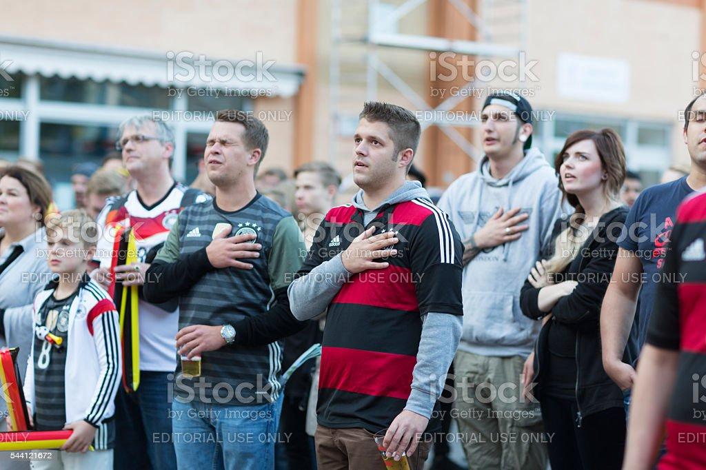 european championship german soccer singin national anthem stock photo