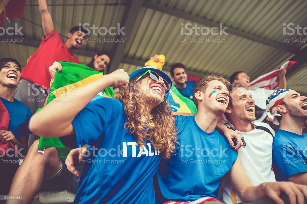 European championship supporters and love stock photo