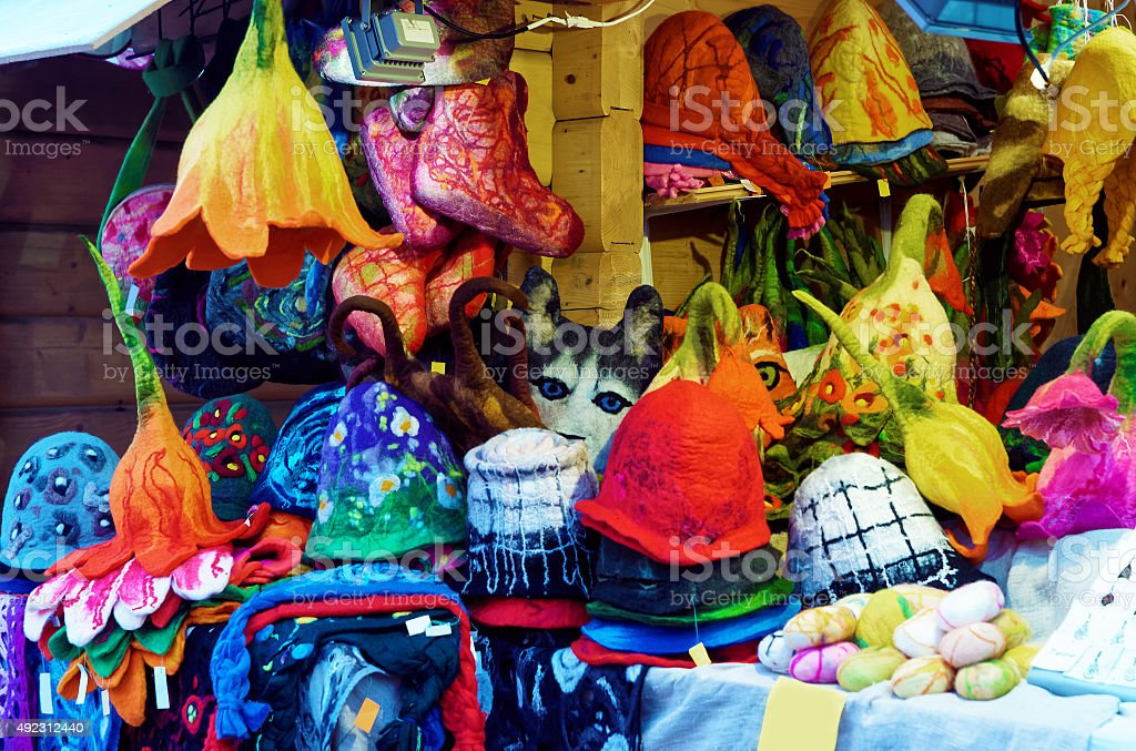 European Christmas market stall at Dome square in Riga stock photo