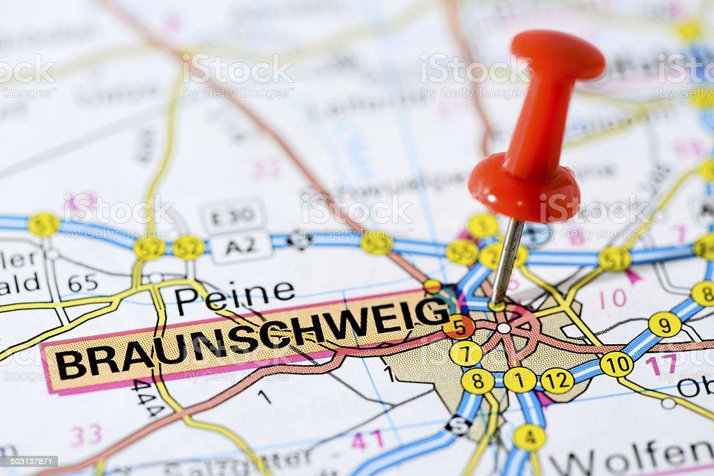 European cities on map series: Braunschweig stock photo