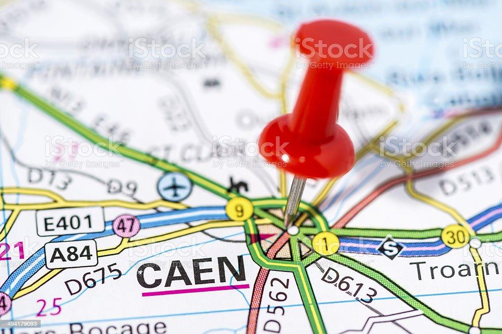 European cities on map series: Caen stock photo