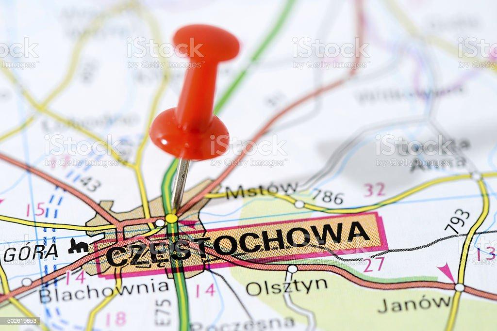 European cities on map series: Czestochowa stock photo